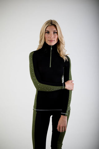 S'No Queen Silk Black Khaki Double Striper Ski Base Layer