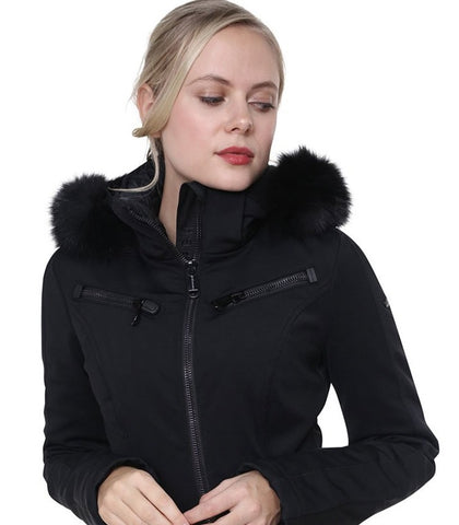 Goldbergh Empress Jumpsuit in Black with Fur Hood