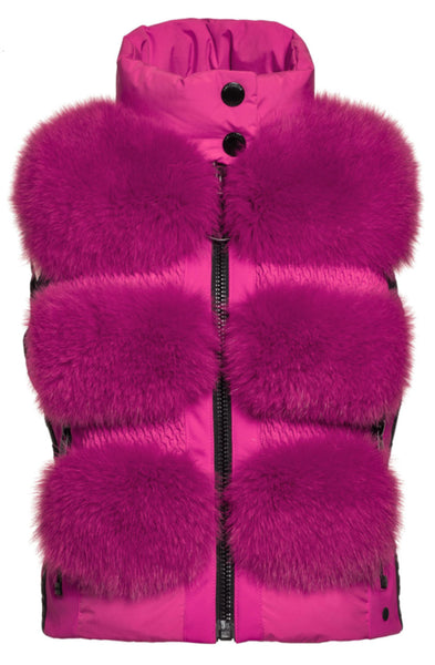 Goldbergh Foxy Faux Fur Gilet in Wow Pink
