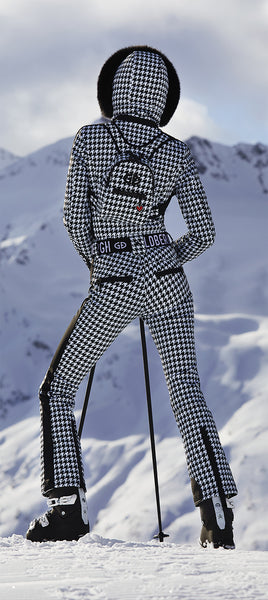 Goldbergh France Skisuit in Black and White Check with Fur Hood
