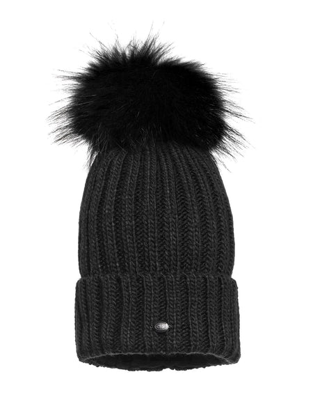 Goldbergh Una Black Fur Pom Pom Hat