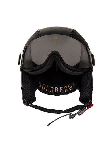 Goldbergh Glam Leather Helmet in Black with Visor