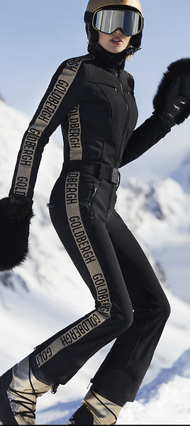 Goldbergh Goldfinger One Piece Black and Gold Ski Suit