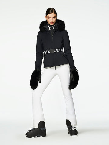 Goldbergh Hida Black Ski Jacket with Faux Fur Trimmed Hood
