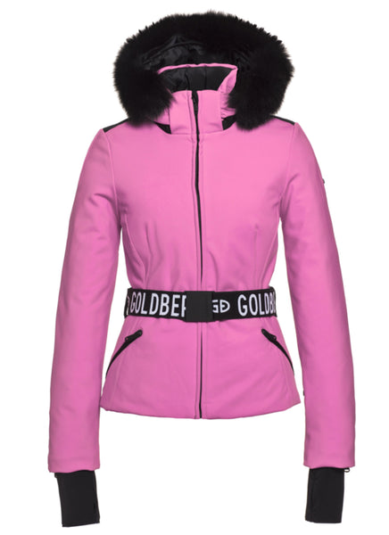 Goldbergh NEW Hida Wow Pink Ski Jacket with Faux Fur Trimmed Hood
