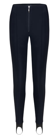 Emmegi ladies stretch stirrup ski pant in navy blue front view