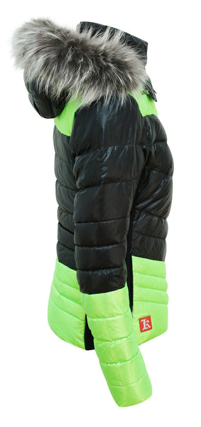 Kelly by Sissy Sylvie Black and Lime Downfilled Ski Jacket with Fur Trimmed Hood