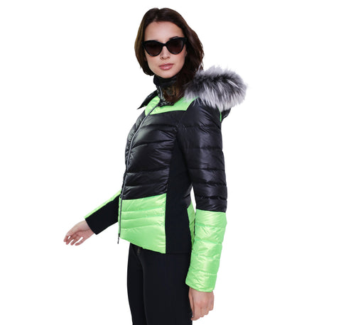Kelly by Sissy Sylvie Black and Lime Ski Jacket with Fur Trimmed Hood