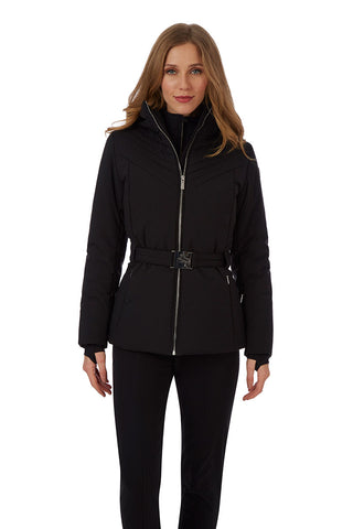 Fusalp Nanssil Ski Jacket in Noir with Belt and Faux Fur Lined Hood