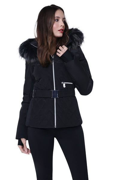 Poivre Blanc Quilted Black Ski Jacket W19-1003-WO/B with Belt and Fur Trim