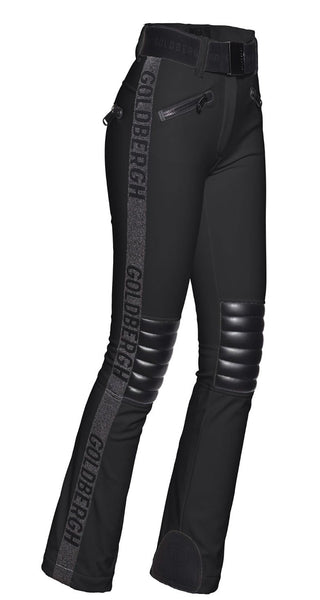 Goldbergh Rocky Black Ski Pants with Leather Look Knee Pads