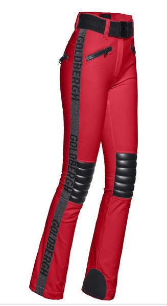 Goldbergh Rocky Red Ski Pants with Leather Look Knee Pads