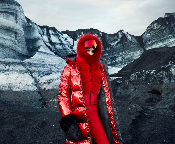 Goldbergh Naomi Cashmere and Fur Snood in Lava Red