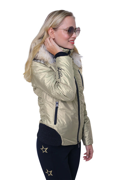 High Society Ruby Ski Jacket in Pale Gold with Fur Trim