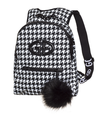 Goldbergh Handy Black and White Backpack with  Faux Fur Pom Pom