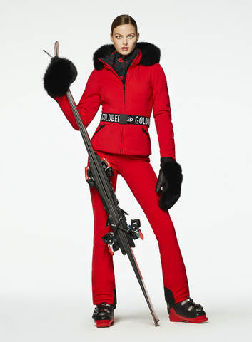Goldbergh NEW Hida Ruby Red Ski Jacket with Fox Fur Trimmed Hood