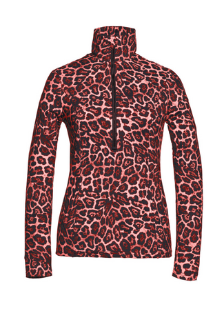 Goldbergh Lilja Ski Base Layer/Pully in Ruby Red Leopard Print