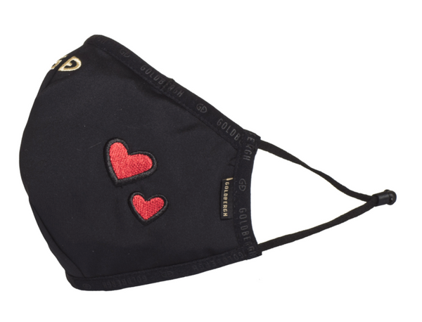 Goldbergh Loes Face Mask in Black with Hearts