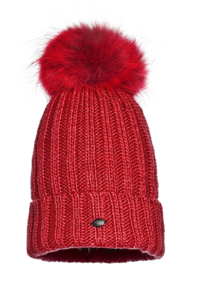 Goldbergh Una Red Fur Pom Pom Hat