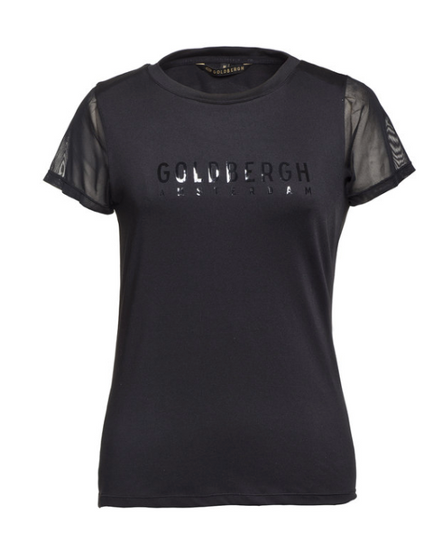 Goldbergh Milly Black T Shirt with Mesh Details