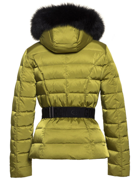 Goldbergh Soldis Pistachio Downfilled Ski Jacket with Fur Trim