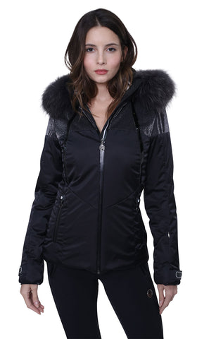 Sportalm Kitzbuhel Shera Ski Jacket in Black with Fur Trimmed Hood