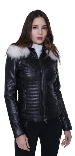 Sportalm Kitzbuhel Black Leather Ski Jacket Ground Bam with Fur