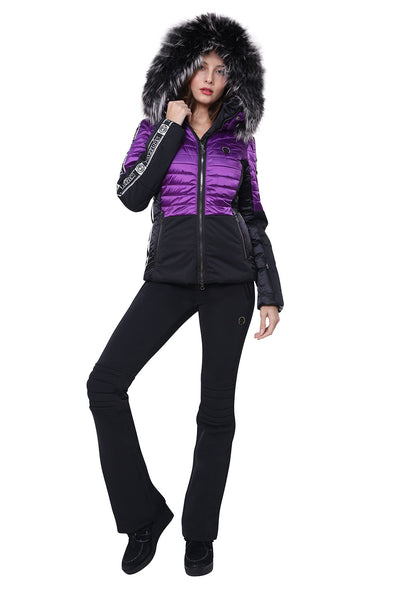 Sportalm Smash Ski Jacket 902113147 in Black and Violet with Black and White Fur Trimmed Hood