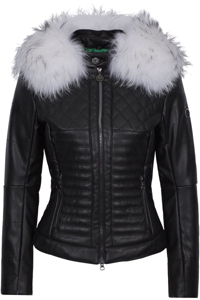 Sportalm Kitzbuhel Black Leather Ski Jacket 902156194 with Fur Trim