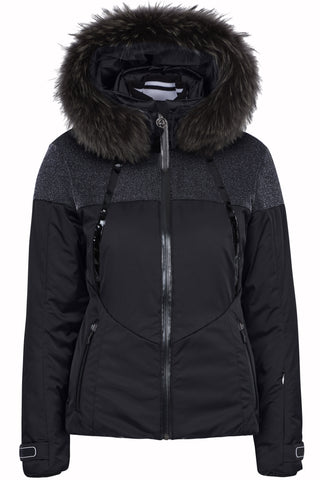 Sportalm Kitzbuhel Ski Jacket 902229143 in Black with Fur Trimmed Hood
