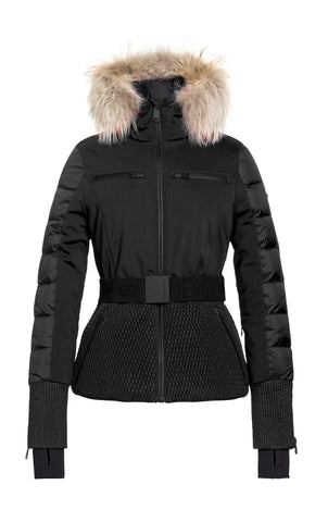 Goldbergh Stylish Black Quilted Ski Jacket with Fur Trimmed Hood