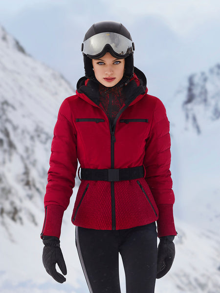 Goldbergh Stylish red ski jacket and Paloma black stretch ski pants with faux leather side stripe and Glam helmet with visor