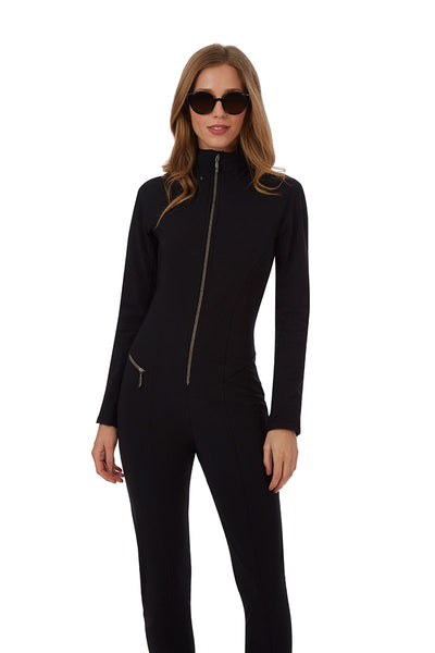 Emmegi Winnie One Piece Ski Suit in Black with Removable Hood