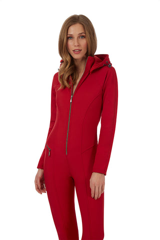 Emmegi Winnie One Piece Ski Suit in Red with Removable Hood