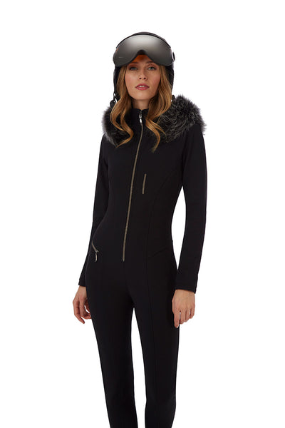 Emmegi Winnie One Piece Ski Suit in Black with Grey Fur Trimmed Hood