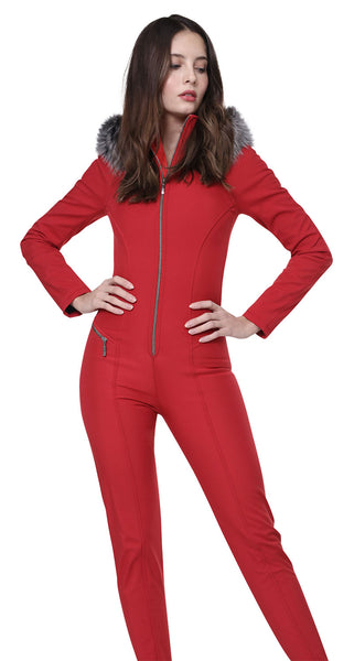 Emmegi Winnie One Piece Ski Suit in Red with Fur Hood