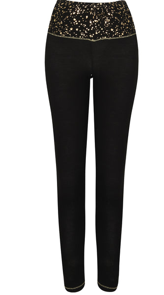 S'No Queen Gemini Silk Thermal Leggings in Black with Gold Foil
