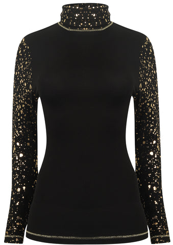 S'No Queen Gemini Silk Thermal Polo in Black and Gold