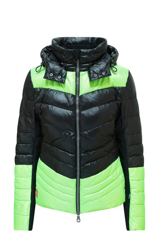 Kelly by Sissy Sylvie Black and Lime Ski Jacket with Hood from winternational.co.uk
