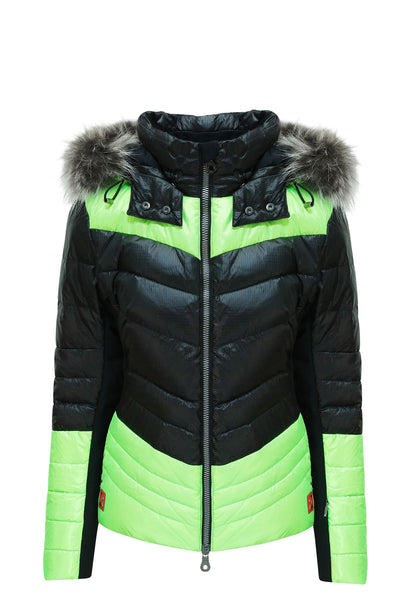 Kelly by Sissy Sylvie Black and Lime Ski Jacket with Fur Trimmed Hood from winternational.co.uk