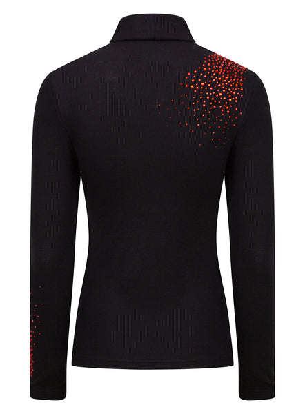 S'No Queen Black and Orange Twist Silk Thermal Polo