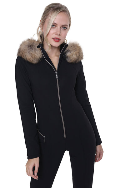 Emmegi Winnie One Piece Ski Suit in Black with Natural Fur