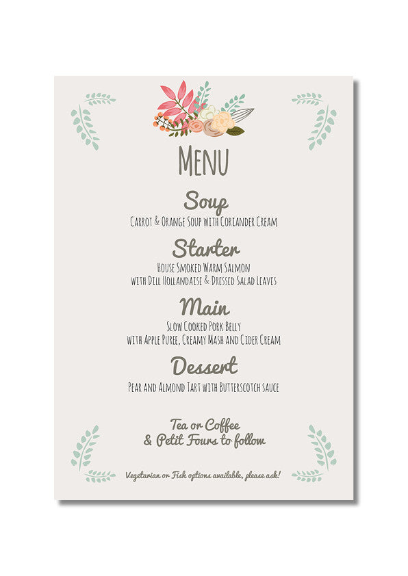 Rustic Country Menu