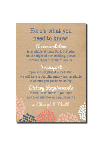 Casual Card Guest Information Card