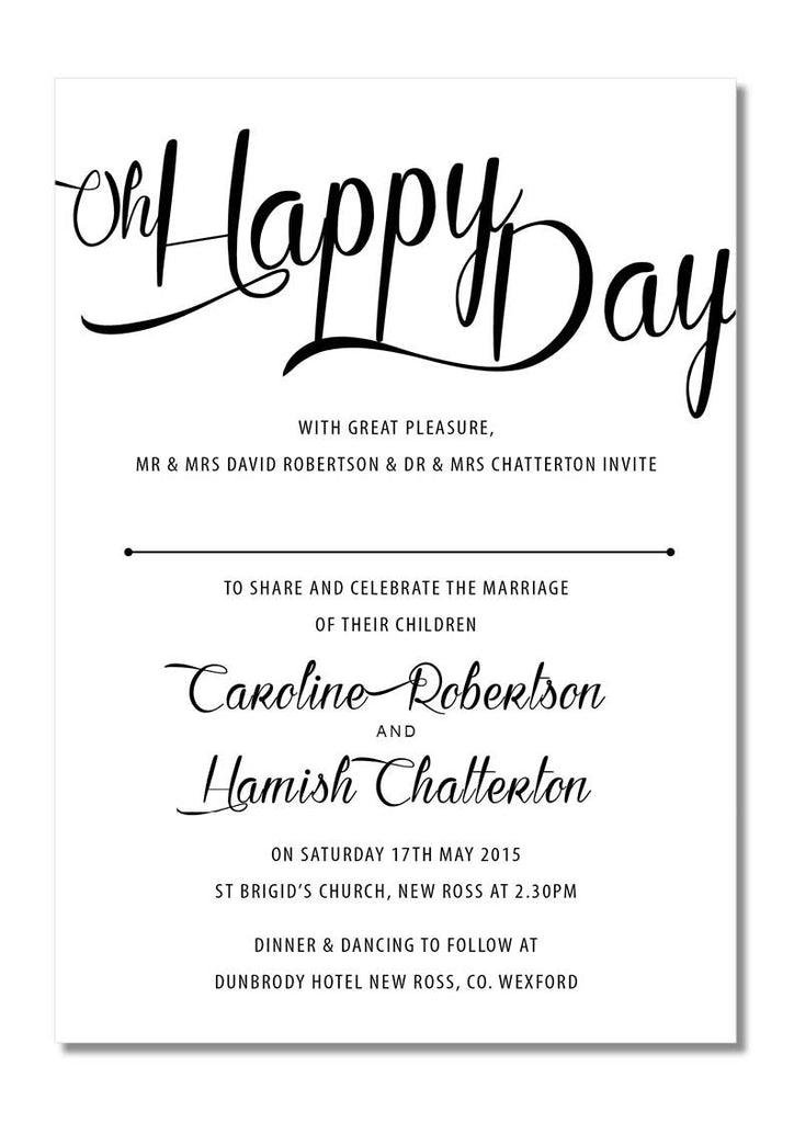 Design Our Day Oh Happy Day Wedding Invitation – Design Our Day ...