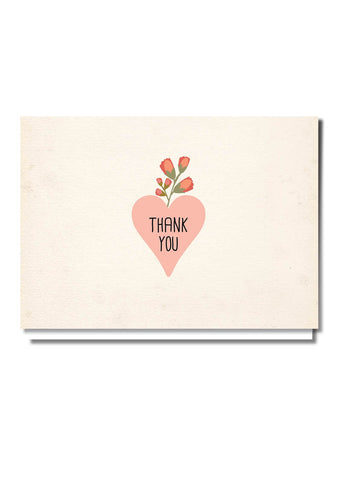 Rustic Pink Thank You Card
