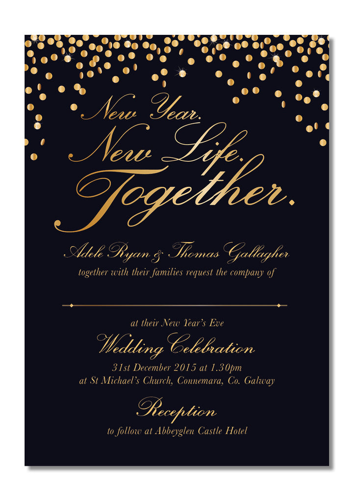 Design Our Day Wedding Stationery - New Year\'s Eve wedding invitation