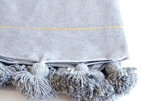 Pom Pom Blanket - Blue/Silver - The Loaded Trunk