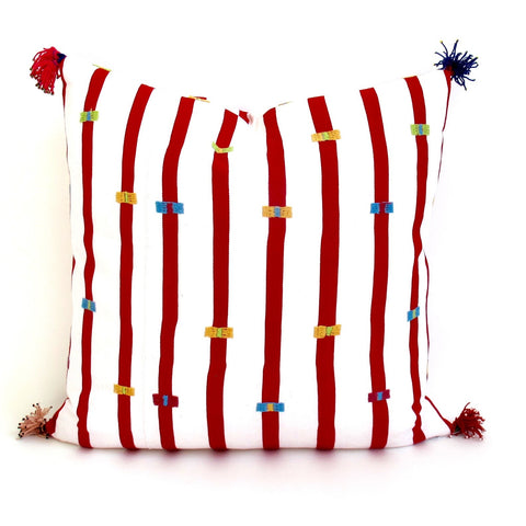 Chiapas Red Striped Square Pillow - The Loaded Trunk