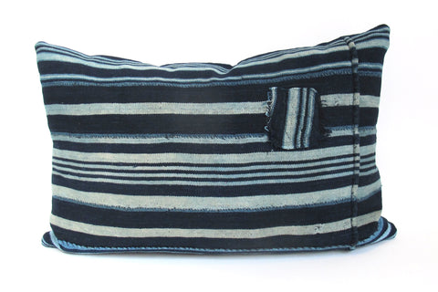 Indigo Striped Pillow No. 10 - The Loaded Trunk